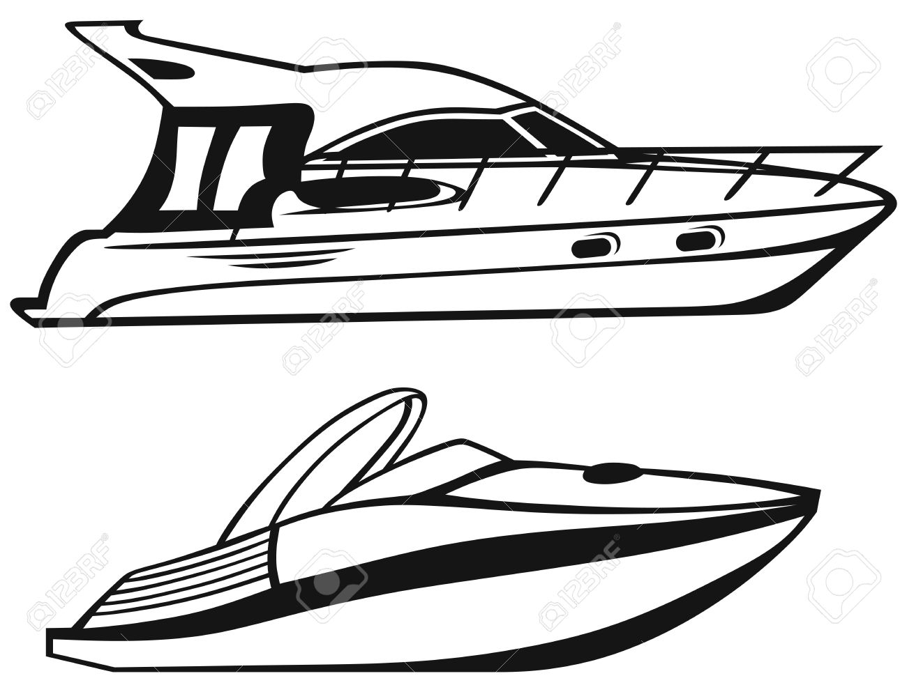 Speed boats clipart clip art black and white stock Luxury Yacht Isolated On White Background Royalty Free Cliparts ... clip art black and white stock