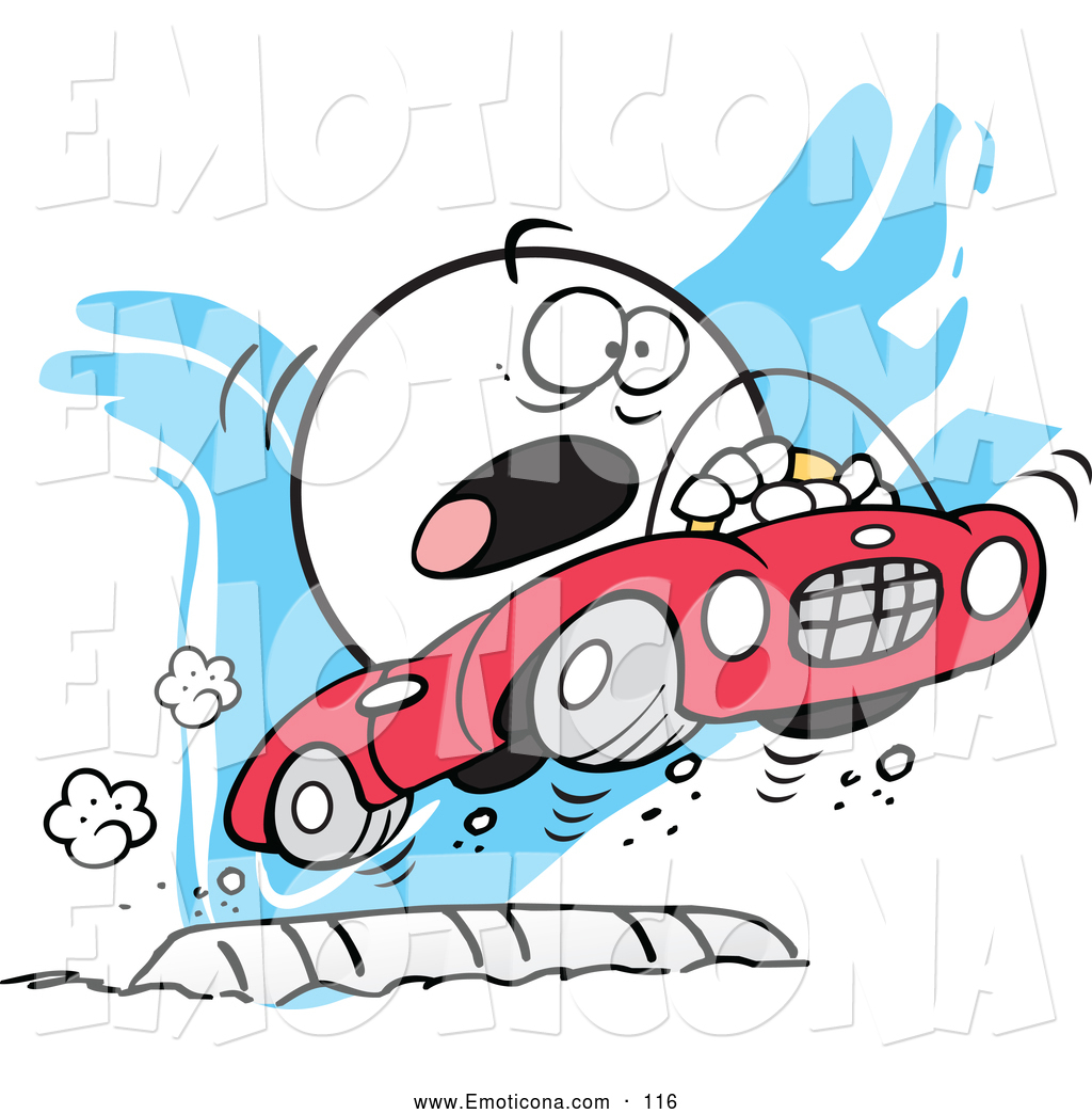 Speed bump clip art graphic library Vector Illustration of a Scared Moodie Character Flying over a ... graphic library