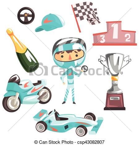 Speed racer clipart kids vector free Vector Clipart of Boy Speed Racer, Kids Future Dream Professional ... vector free