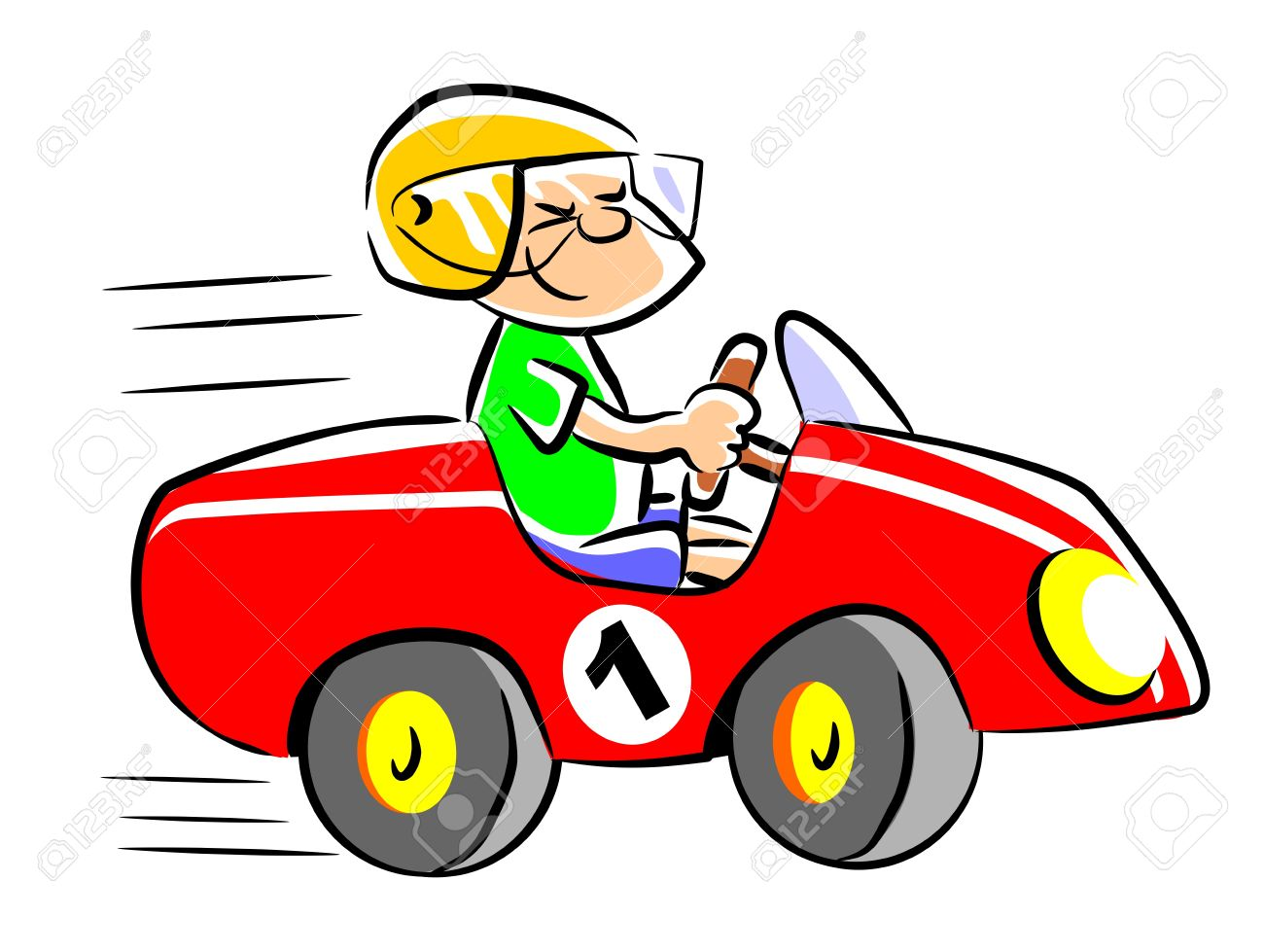 Speed racer clipart kids picture freeuse stock Little Boy Playing In His Pedal Car. Child Who Dreams Of Being ... picture freeuse stock