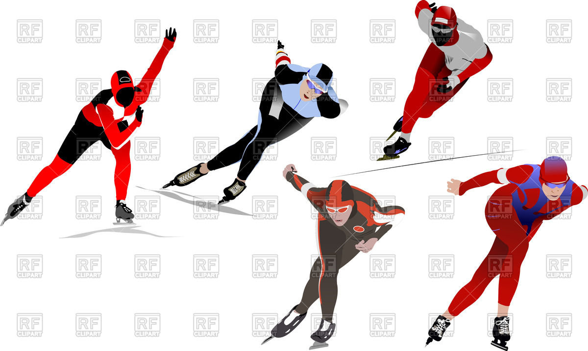 Speed skater clipart graphic royalty free download Front view of speed skating sportsmen Vector Image #52953 – RFclipart graphic royalty free download