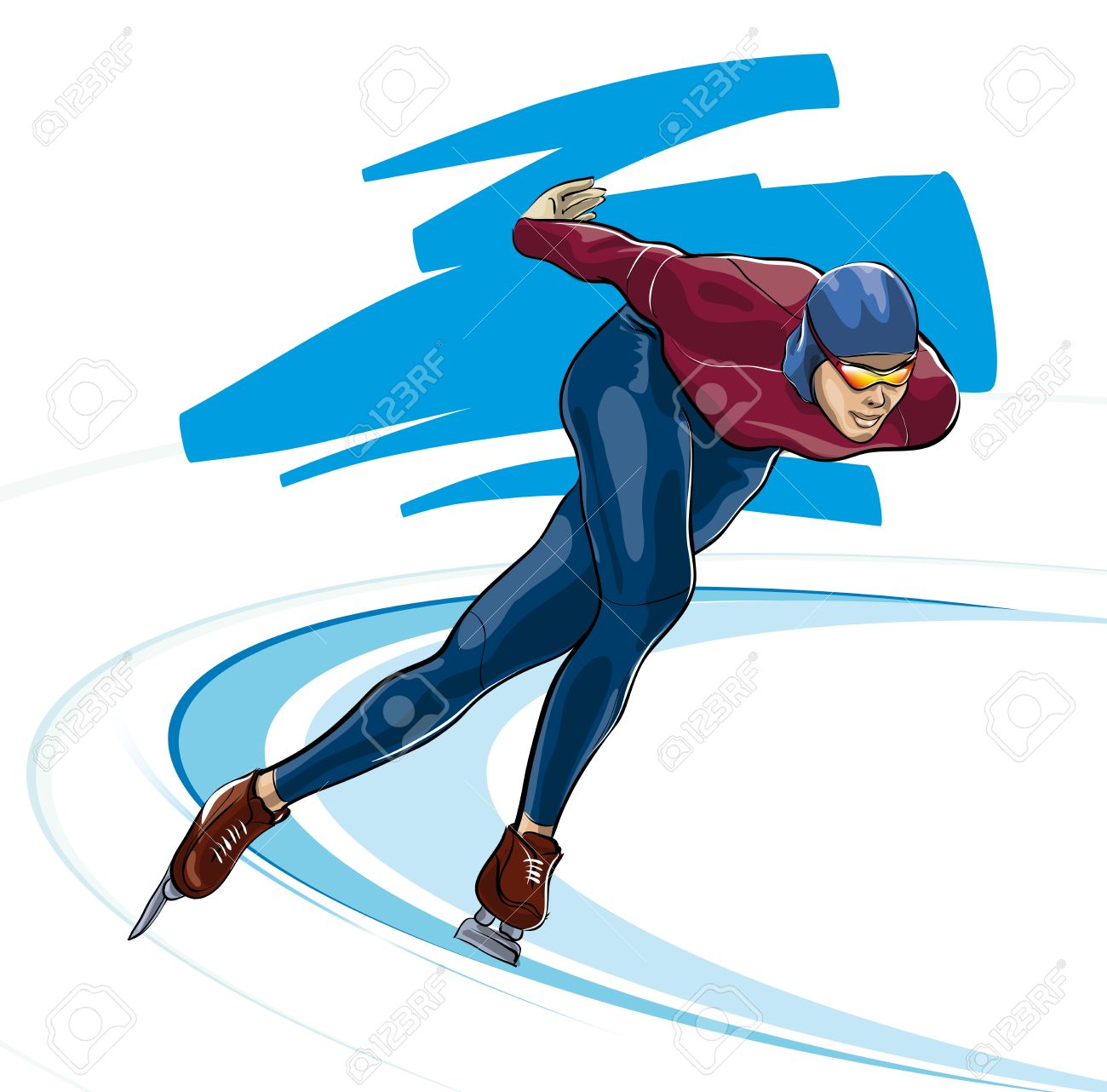 Speed skater clipart image black and white download Speed skater clipart - ClipartFest image black and white download