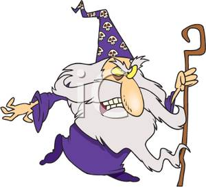 Spell staff clipart black and white An Angry Wizard with a Curved Staff - Clipart black and white