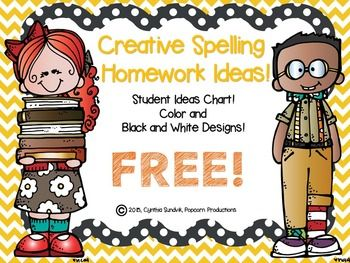 Spelling homework clipart banner download FREE Creative Spelling Homework Ideas! Color and B/W ... banner download