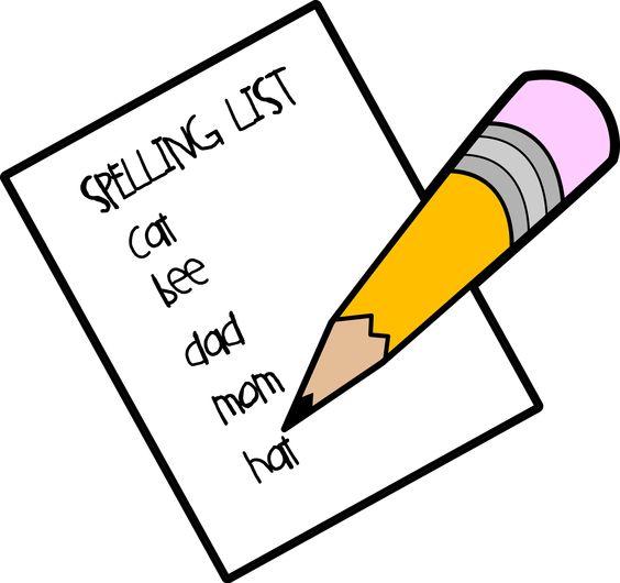 Spelling list clipart