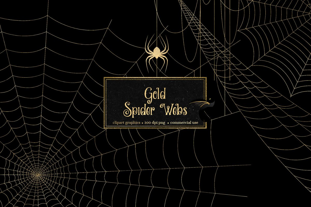 Spider web overlay clipart jpg royalty free library Gold Spider Web Clipart ~ Illustrations ~ Creative Market jpg royalty free library