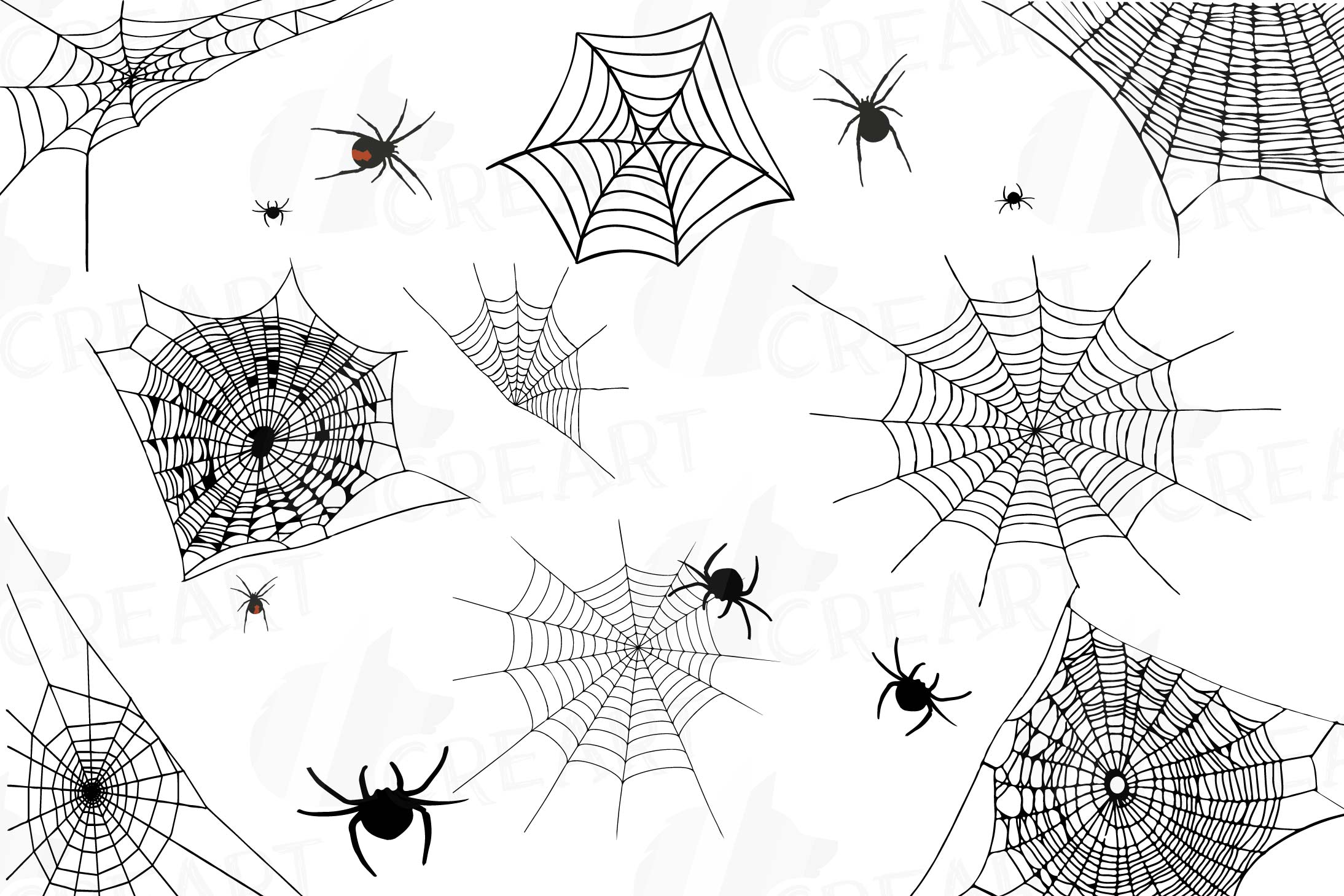 Spider web silhouette clipart png black and white Spiders and Spider webs silhouettes clip art pack, Halloween png black and white