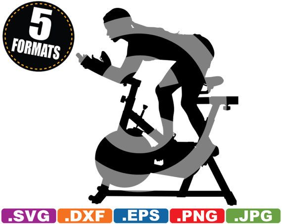 Indoor cycling clipart png free Female on Spin Bike / Exercise Clip Art Image - SVG cutting ... png free