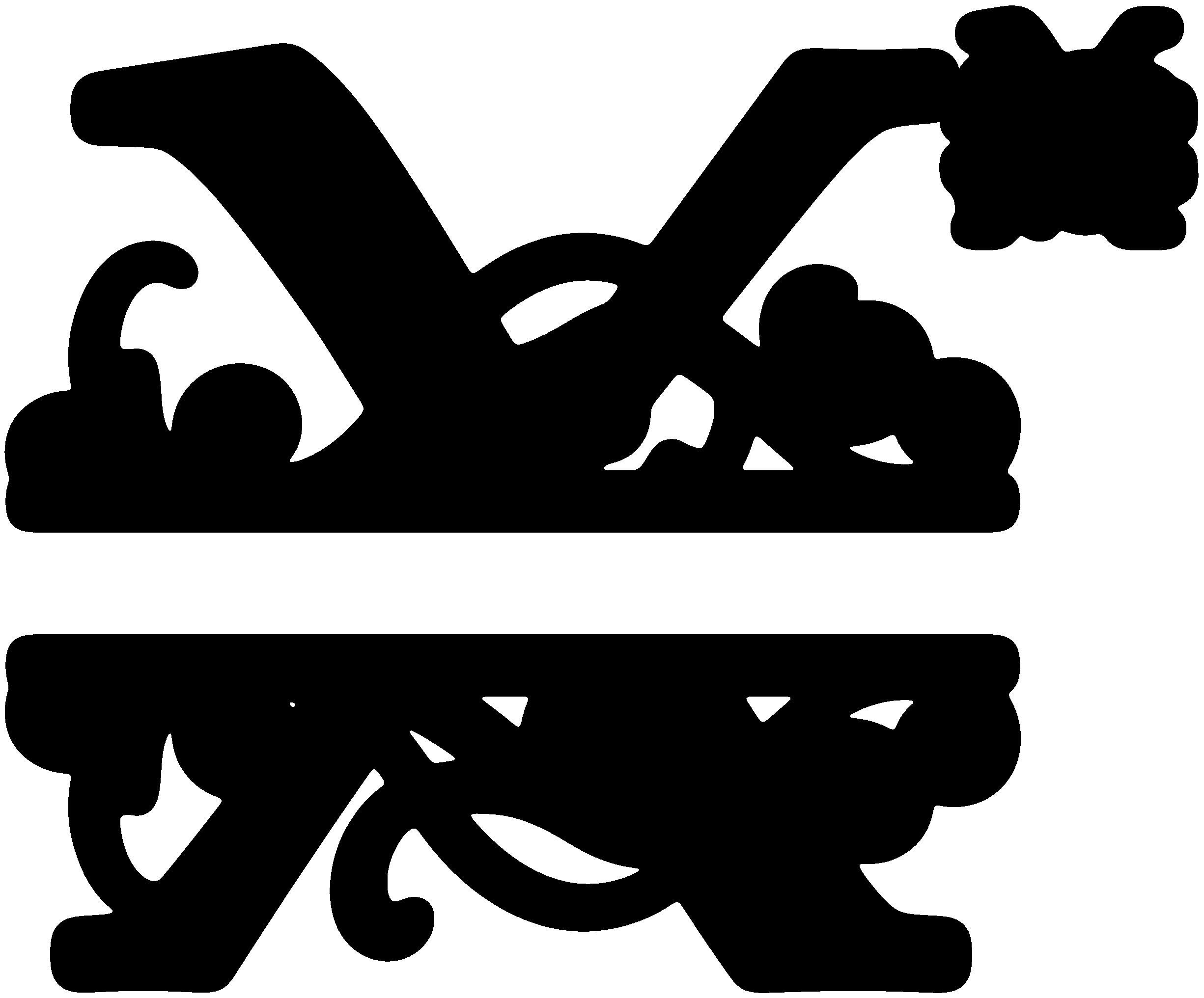 Split cross monogram clipart clipart black and white stock X