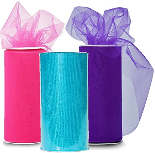 Spool of ribbon clipart black and white library Solid Colors Tulle Rolls Spool - Three Spools of Tulle Fabric on 3  Beautiful Colors Turquoise, Pink and Purple - 25-Yard each black and white library
