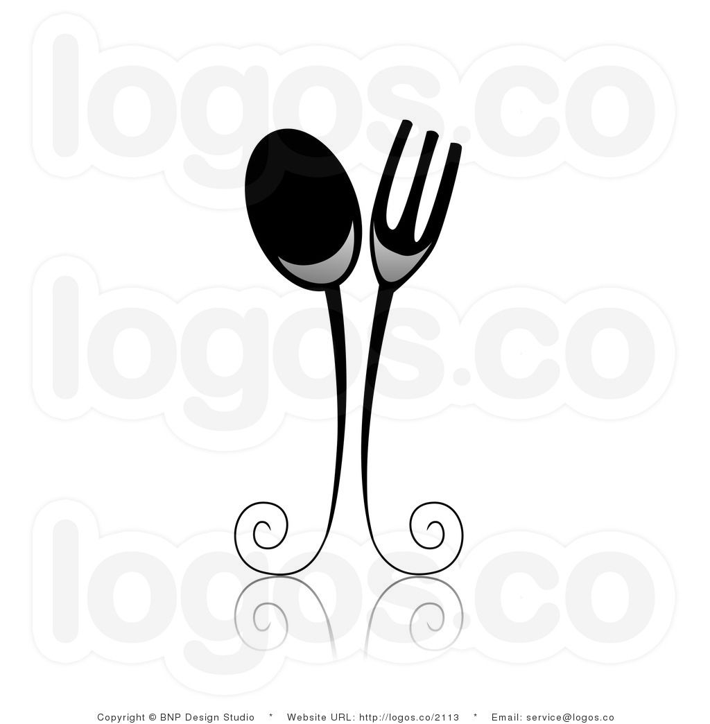 Spoon and fork logo clipart image library Very cute. Black And White Designs Clip Art   Royalty Free ... image library