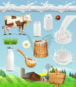 Spoon bottle vector clipart graphics bottle pouring onto spoon picture royalty free Milk and farm. Bottle, glass, spoon, bucket. Drops - vector ... picture royalty free