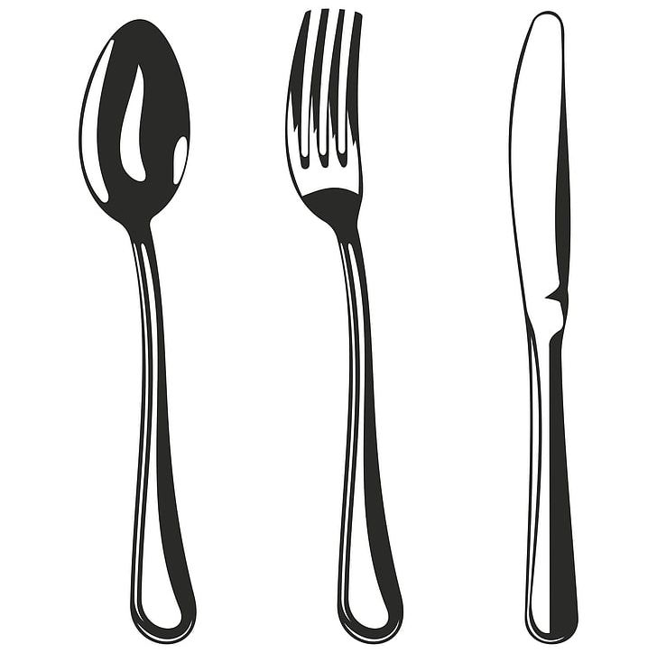 Spoon fork knife cliparts svg black and white library Knife Fork Spoon PNG, Clipart, Clip Art, Cutlery, Euclidean ... svg black and white library
