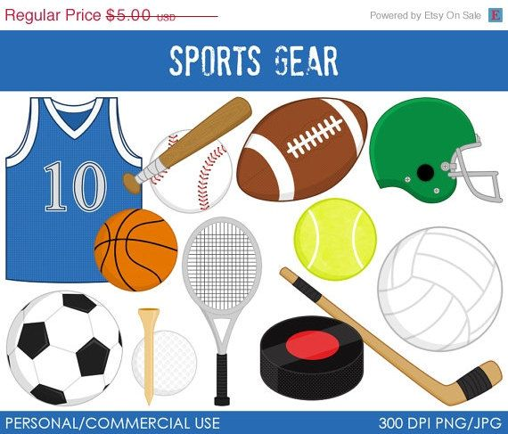 Sports attire clipart graphic royalty free library 50% OFF - Sports Gear Clipart - Digital Clip Art Graphics ... graphic royalty free library