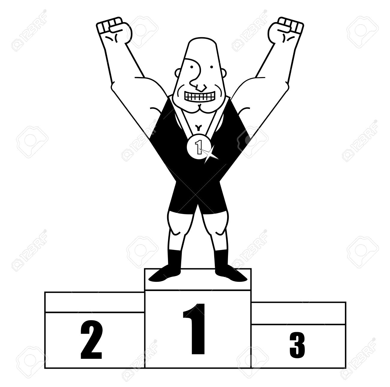 Sportsman clipart clipart black and white stock Sportsman standing on podium. Contour » Clipart Station clipart black and white stock