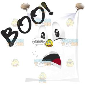 Spread the word clipart black & white clip black and white download Ghost White Sheet Spread Flat And Pinned To Wall With Face And Word 'Boo!' clip black and white download