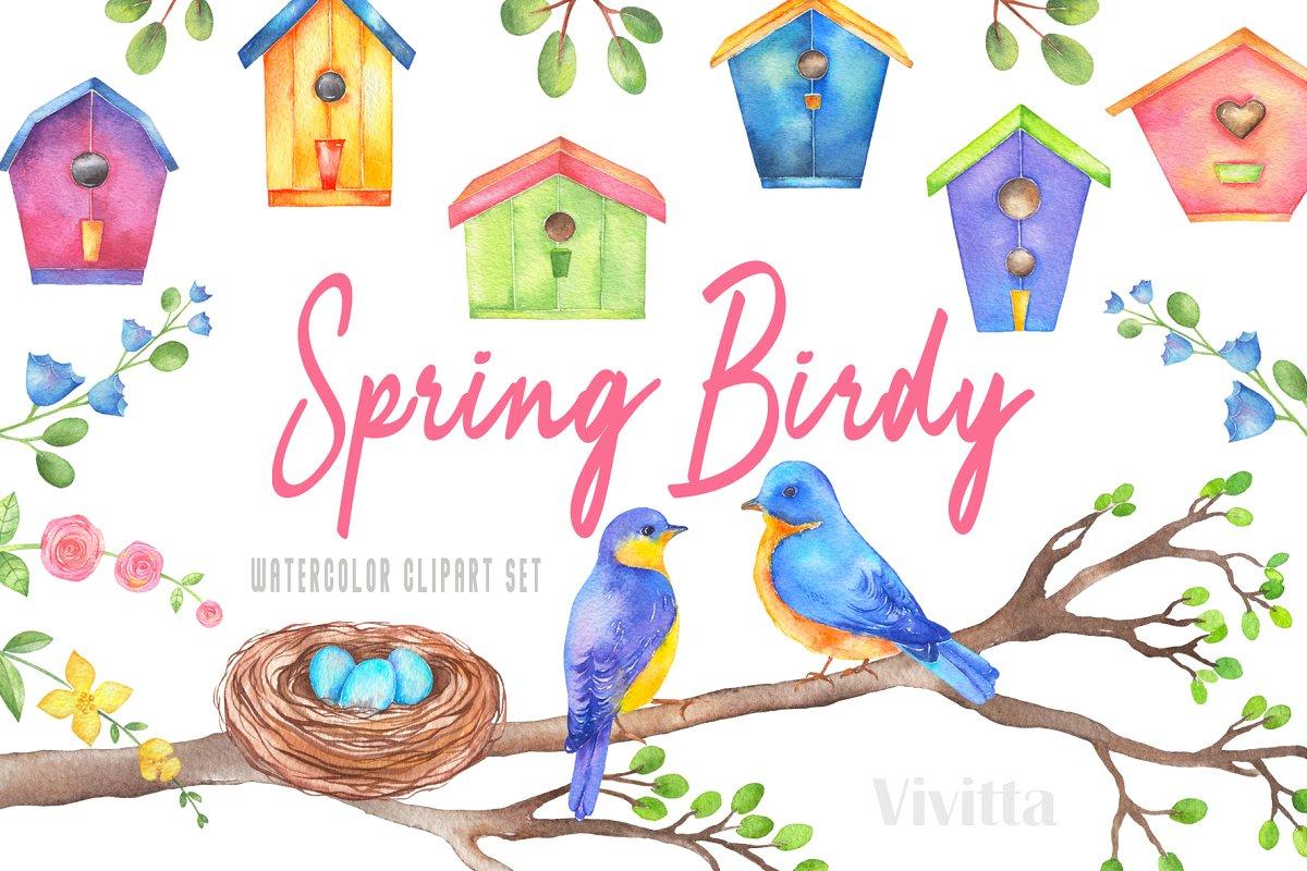 Spring bluebird clipart clipart library stock Watercolor Spring Birdy clipart set clipart library stock