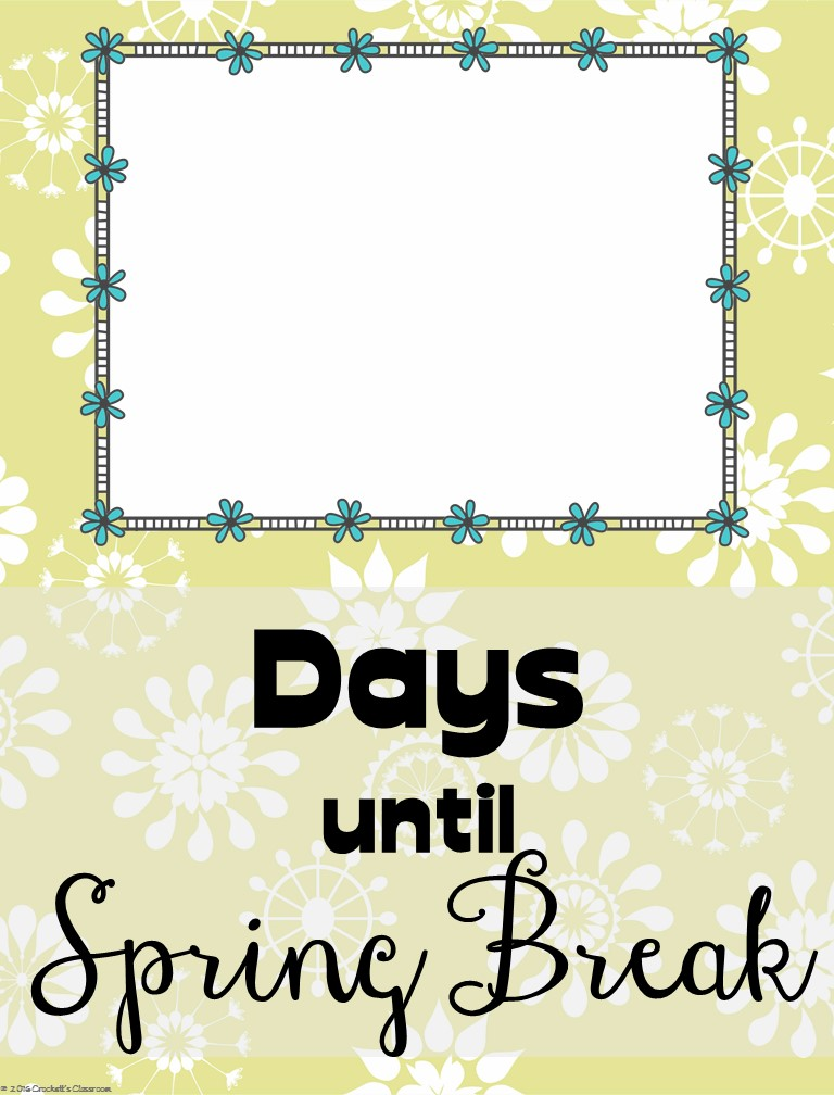 Spring break countdown clipart clipart freeuse library Countdown Posters, editable - Classroom Freebies clipart freeuse library