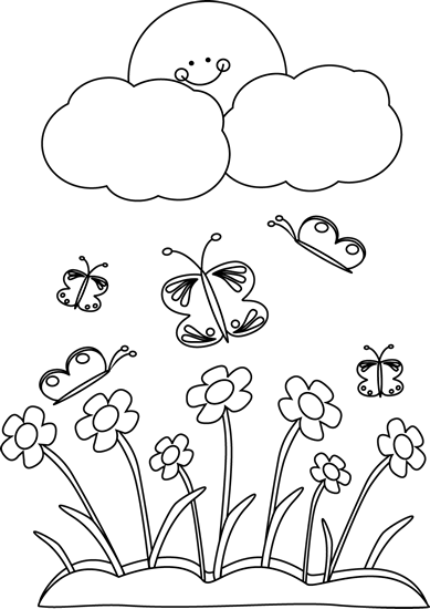 Spring flowers black and white clipart png stock clip art black and white | Black and White Spring Sun Clip ... png stock