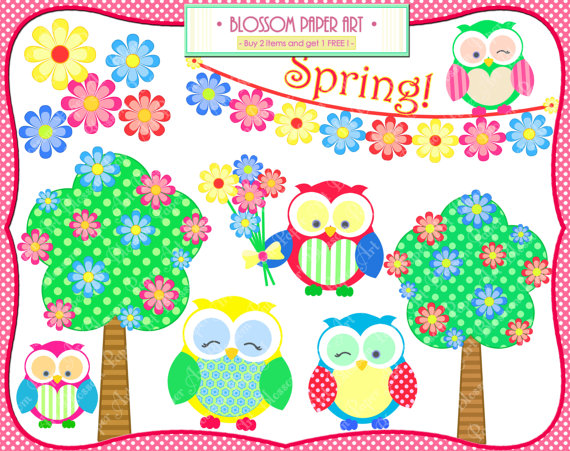 Spring clipart printable png royalty free download Owls Spring Clipart Flowers Trees Bunting Printables png royalty free download