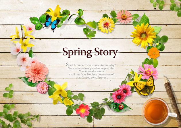 Spring flower pictures download clip art free Romantic stories of spring flower box PSD material | Free download clip art free