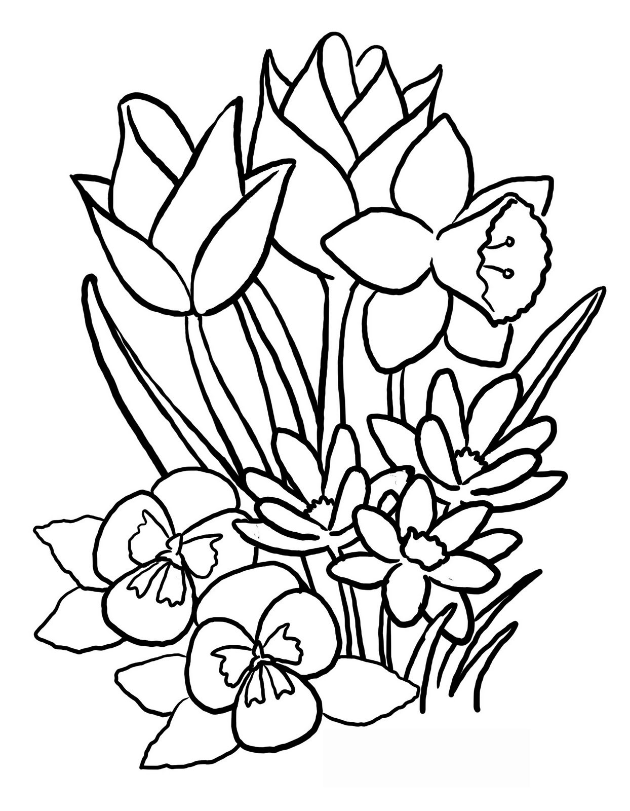 Spring flowers black and white clipart transparent Free Drawings Of Spring Flowers, Download Free Clip Art ... transparent