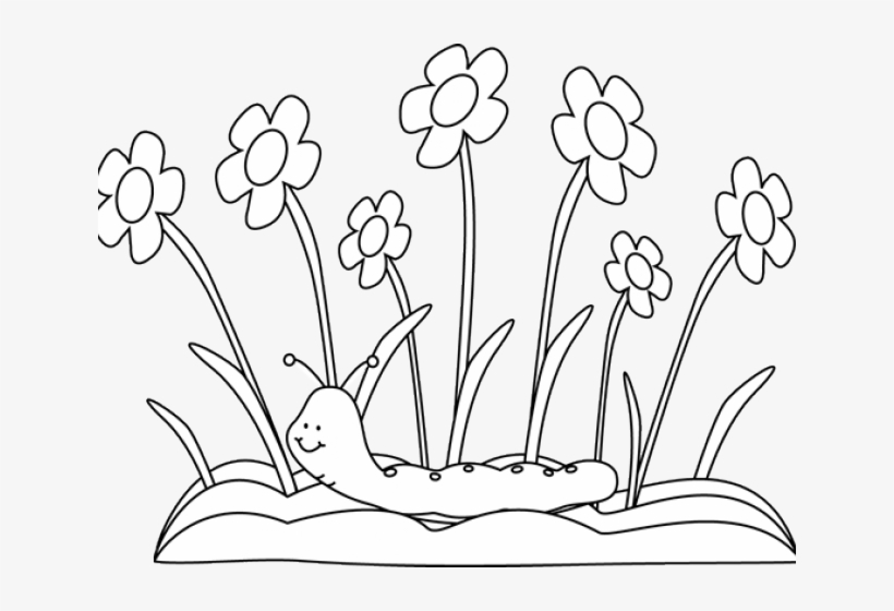 Spring flowers black and white clipart transparent jpg library library Spring Outline Cliparts - Flower Garden Clip Art Black And ... jpg library library