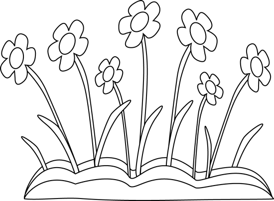 Spring flowers black and white clipart image royalty free Black and White Spring Flower Patch Clip Art - Black and ... image royalty free