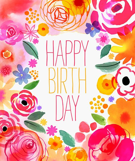 Spring happy birthday clipart picture download pink_yellow_border_blooms_01 | Birthday Greetings | Birthday ... picture download