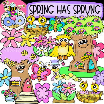 Spring has sprung clipart black and white stock Spring Has Sprung: Spring Clipart {DobiBee Designs} black and white stock
