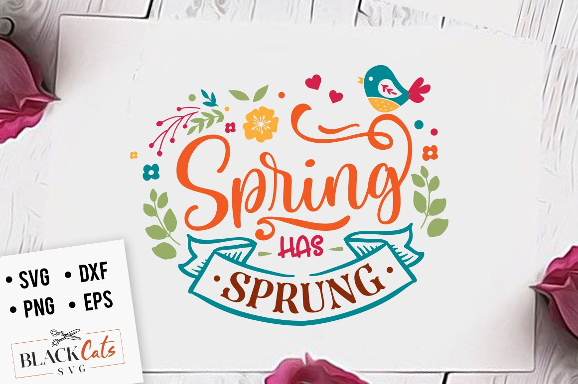 Spring has sprung clipart vector black and white download Spring has sprung SVG file Cutting File Clipart in Svg, Eps, Dxf, Png for  Cricut & Silhouette vector black and white download