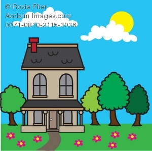 Spring house clipart graphic transparent download Royalty Free Clipart Illustration of a House in Spring graphic transparent download