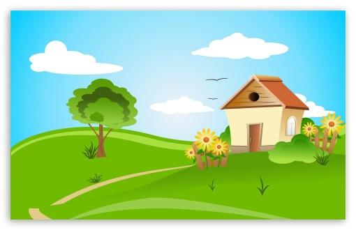 Spring house clipart vector House Illustration Spring ❤ 4K HD Desktop Wallpaper for 4K ... vector