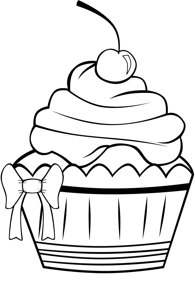 Sqaure cookie cake clipart black and white picture freeuse Free Cupcake Line Drawing, Download Free Clip Art, Free Clip ... picture freeuse