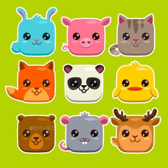Square animals clipart clip library library Square Animals Set - Animals Characters   Рисунок на кружку ... clip library library