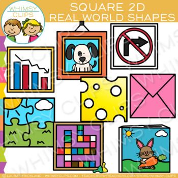 Square objects clipart clip library stock Square Real Life Objects 2D Shapes Clip Art | forms | Cat ... clip library stock