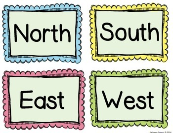 Square with north south east west directions clipart png library download Directions (North,South, East & West) Labels | Fall is in ... png library download