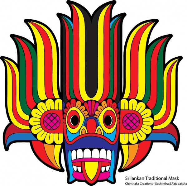Sri lankan traditional clipart banner transparent library Traditional mask in sri lanka Free vector in Adobe ... banner transparent library