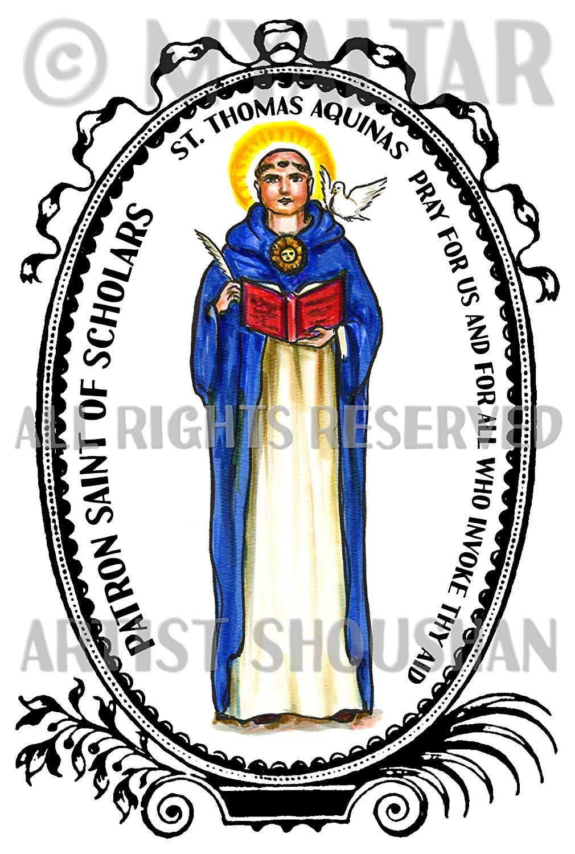 St aquinas clipart vector freeuse download Amazon.com : St Thomas Aquinas Patron Saint of Scholars 4\