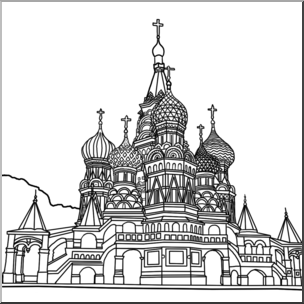 St basil s cathedral clipart banner stock Clip Art: St. Basil\'s Cathedral B&W I abcteach.com   abcteach banner stock