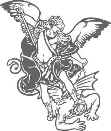 St michael versus satan black and white clipart pyrography