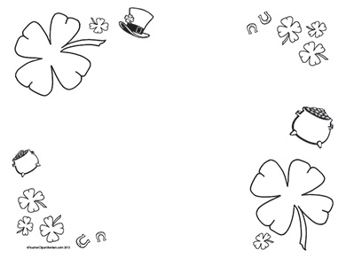 St patricks day border clipart black and white clip art freeuse library St. Patrick's Day- Landscape- Blank clip art freeuse library