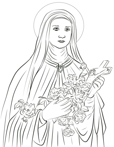 St therese clipart png library Saint Therese of Lisieux coloring page | Free Printable ... png library