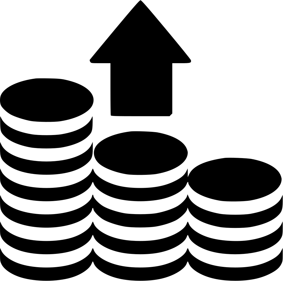 Stack bag of money clipart svg file clip black and white Arrow Up Coins Stack Svg Png Icon Free Download (#457365 ... clip black and white