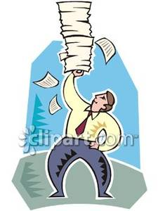 Stack cruiser clipart jpg stock A Man Balancing a Stack of Papers - Royalty Free Clipart Picture jpg stock