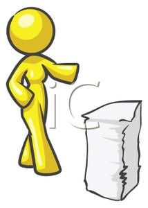 Stack cruiser clipart freeuse stock A Colorful Cartoon of a Woman Walking Towards a Stack of ... freeuse stock