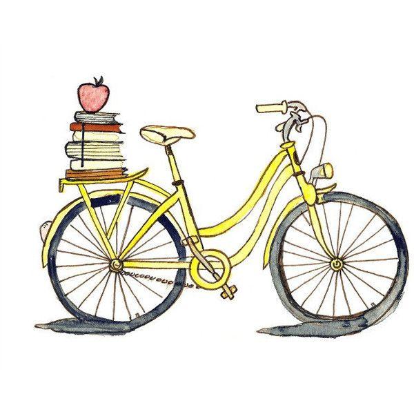 Stack cruiser clipart graphic free download School Bike - 8x10 Art Print - Tour De France, Yellow, Books ... graphic free download