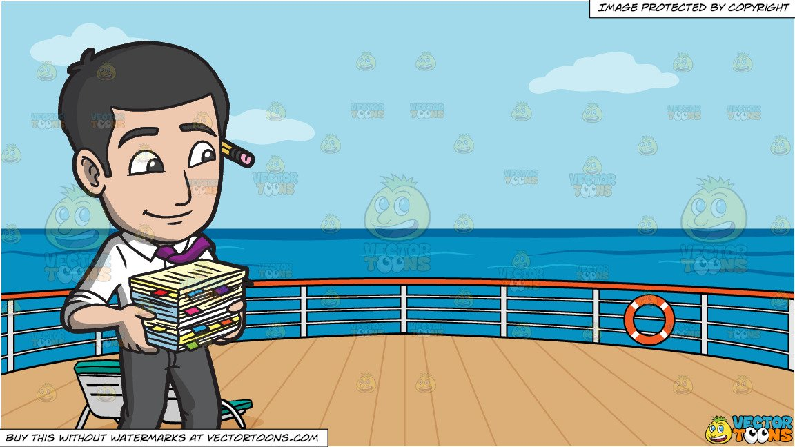 Stack cruiser clipart png royalty free download A Male Office Worker Carrying A Stack Of Files and Deck Of A Cruise Ship  With Deck Chairs Background png royalty free download