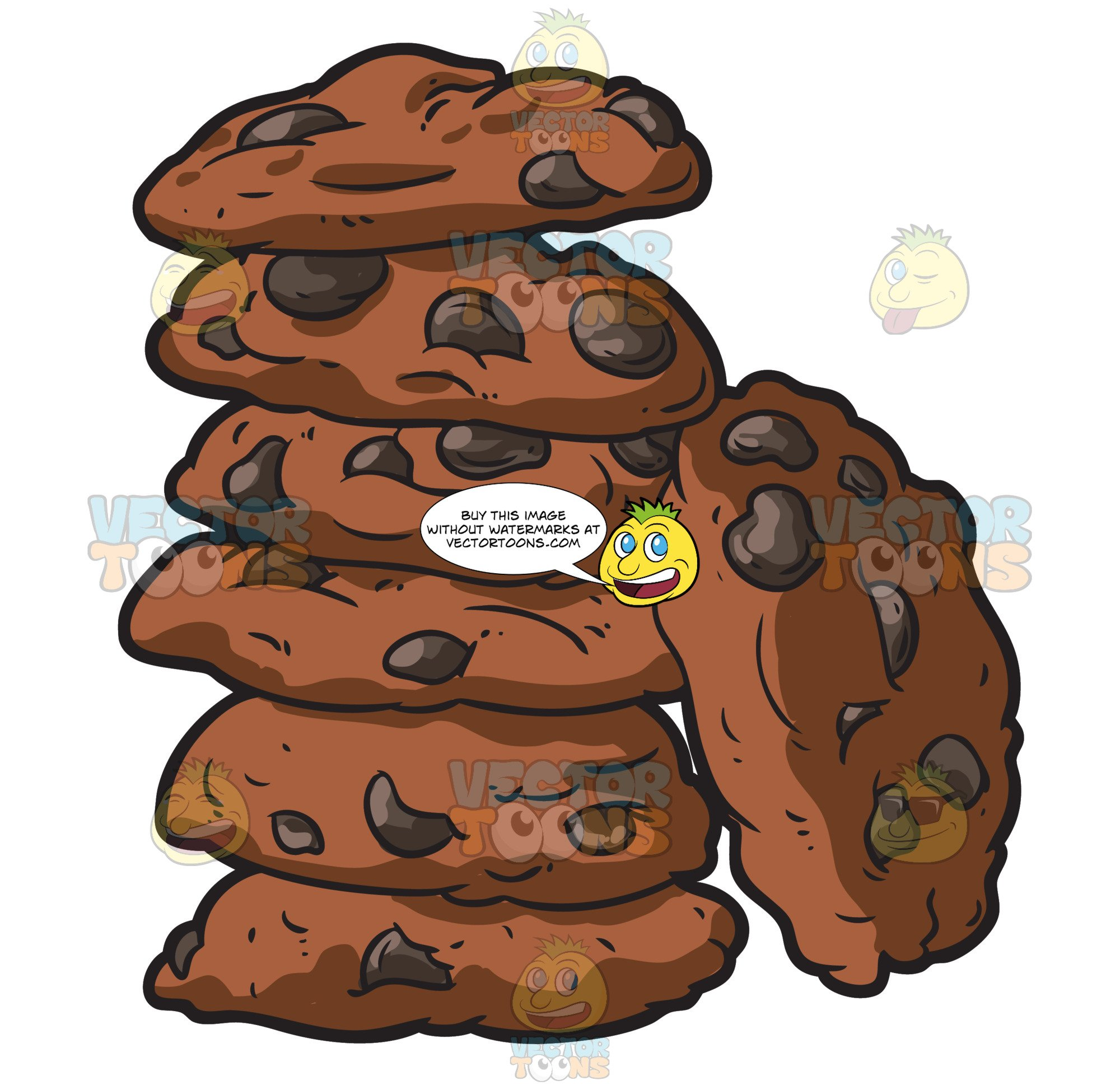 Stack of cookies clipart clipart library stock A Stack Of Chocolate Chip Cookies clipart library stock