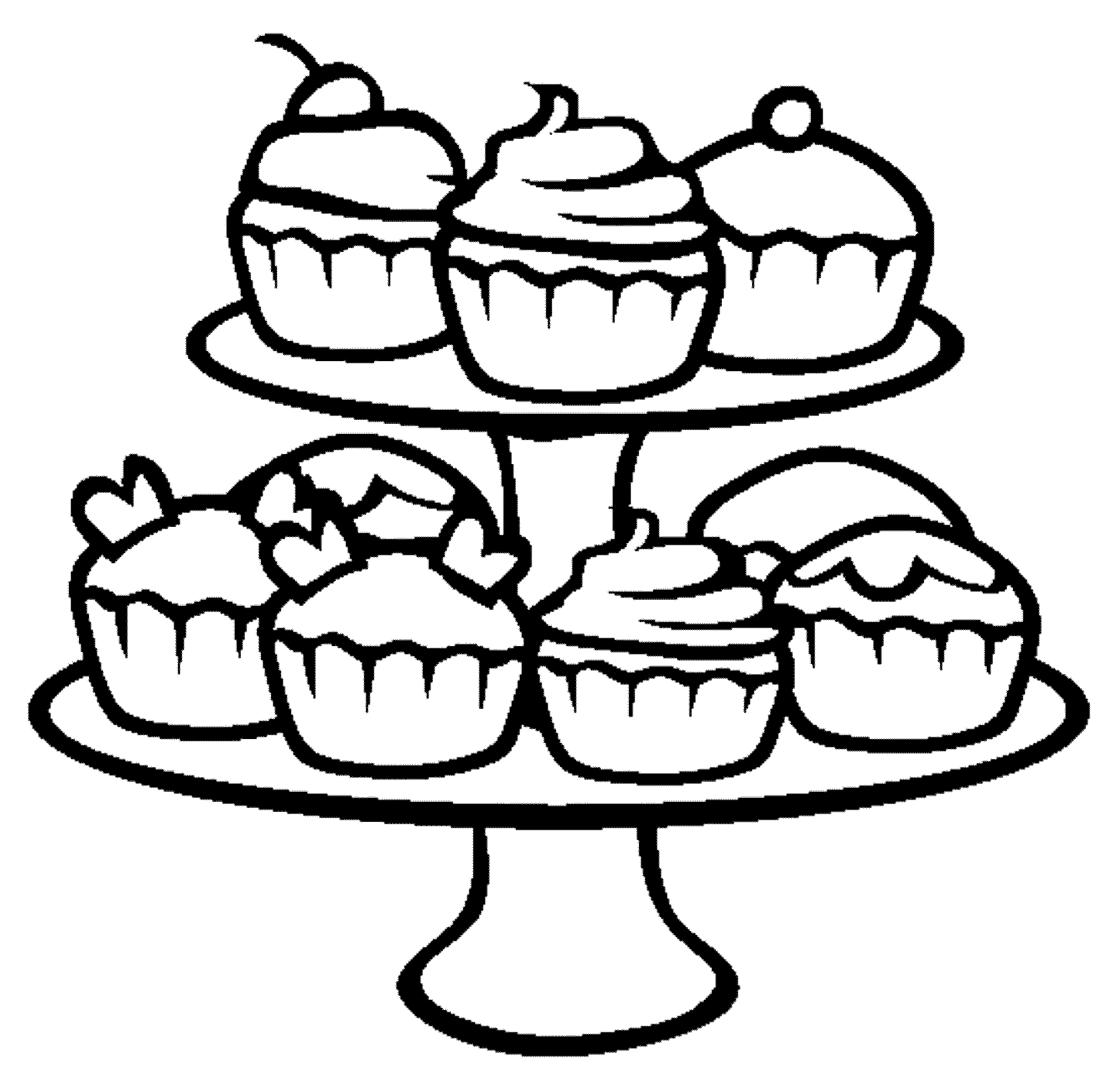 Stack of cupcakes clipart black and white svg transparent Cupcake Clipart Black And White | Free download best Cupcake ... svg transparent